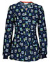 Code Happy 46302CA Women Snap Front Print Warm Up Scrub Jacket