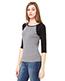 Bella + Canvas B2000 Women Stretch Rib 3/4-Sleeve Contrast Raglan T-Shirt