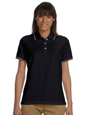 Devon & Jones Blue D113W Women Pima Pique Short-Sleeve Tipped Polo