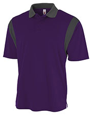 A4 N3266 Men Color Block Polo With Knit Collar