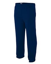 A4 N6189 Men Combed Ringspun Blended Cvc Fleece Open Bottom Pant