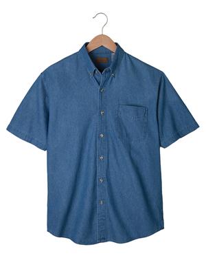 Edwards 1013 Men Button Down Collar Short Sleeve Denim Shirt at GotApparel