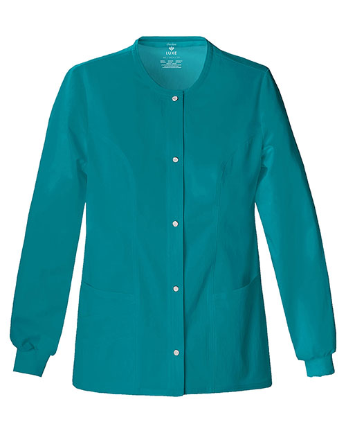 Cherokee 1330 Women Luxe Scrubs Snap Front Warm Up Jacket at GotApparel