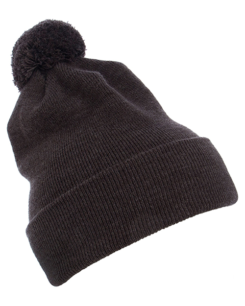 Yupoong 1501P Cuffed Knit Beanie with Pom Pom Hat at GotApparel