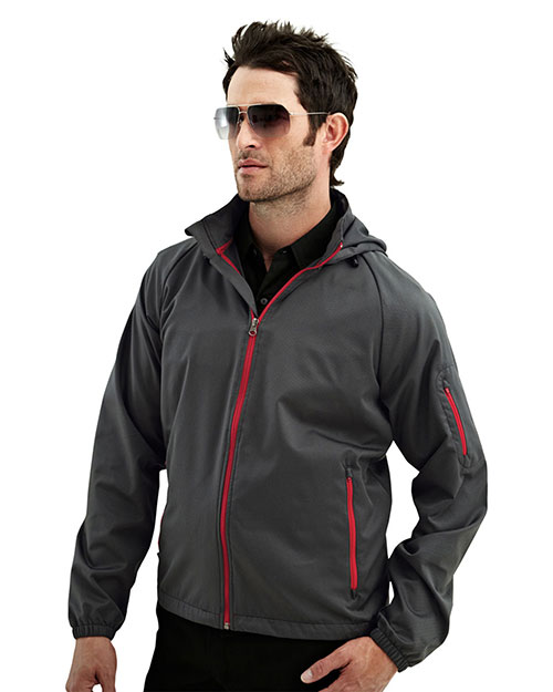 Tri-Mountain 1730 Men Cf-1 Rib Stop Water Resistant Long-Sleeve Hoodly Jacket at GotApparel