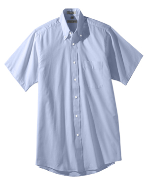Edwards 1925 Men Button-Down Collar Short-Sleeve Pinpoint Oxford Dress Shirt at GotApparel