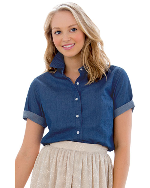 Vantage 1978S Women 's Short-Sleeve Hudson Denim Shirt at GotApparel