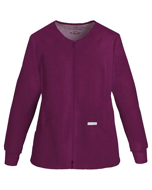 Cherokee 2306 Women Zip Front Knit-Panel Warm-Up Jacket at GotApparel
