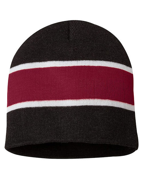 Sportsman SP06 Unisex Striped Knit Beanie at GotApparel