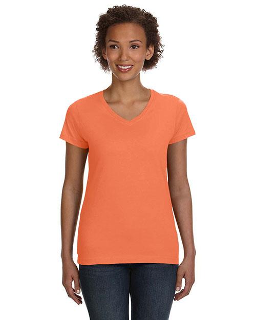 Lat 3507 Women V-Neck Fine Jersey T-Shirt at GotApparel