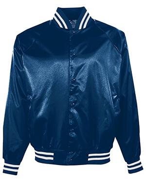 Augusta 3610 Men Satin Baseball Jacket Striped Trim at GotApparel