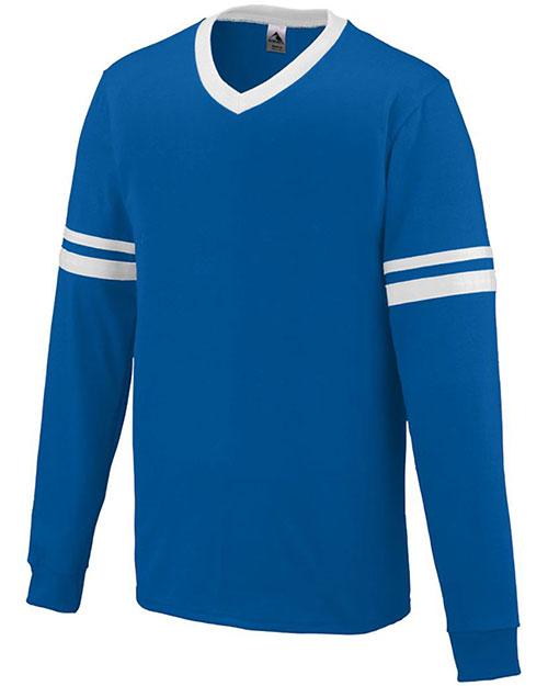 Augusta 372 Men Long-Sleeve Stripe Soccer V-Neck Jersey at GotApparel