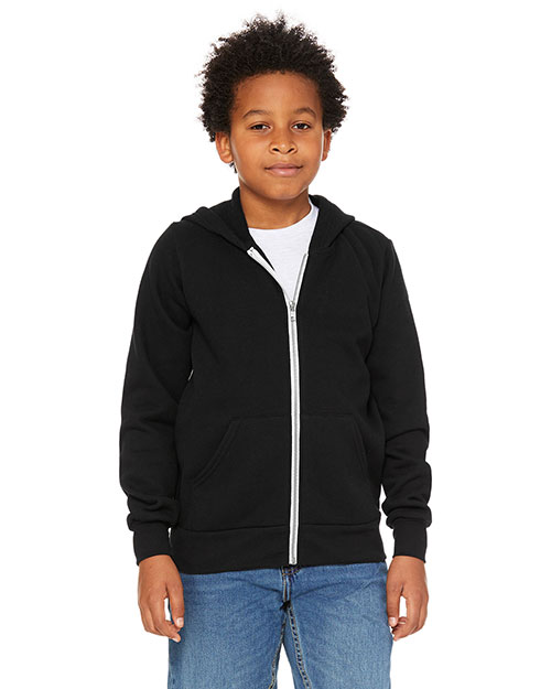 Bella + Canvas 3739Y Youth Sponge Fleece Full-Zip Hooded Sweatshirt at GotApparel
