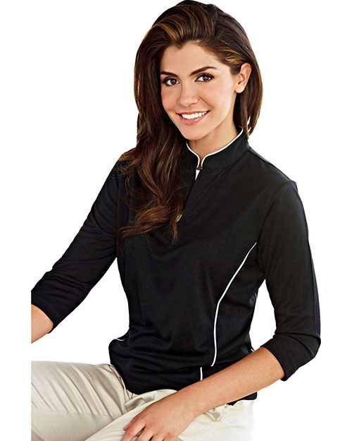 Tri-Mountain Gold 403 Women Glendora Jaquard Knit Pullover Shirt at GotApparel