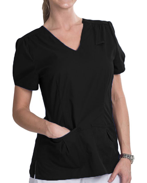Landau 4051 Women Julie Twill Shirred Yoke Top at GotApparel