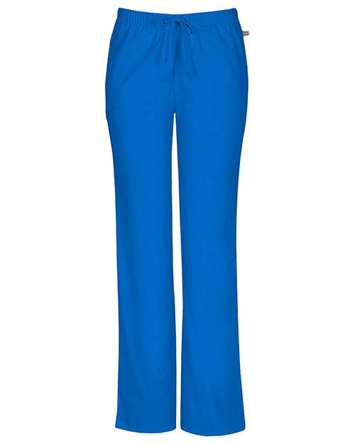 Cherokee Workwear 44101AP Women Mid Rise Moderate Flare Drawstring Pant at GotApparel