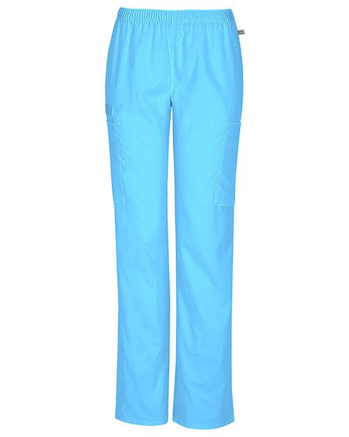 Cherokee Workwear 44200AP Women Mid Rise Straight Leg Elastic Waist Pant at GotApparel