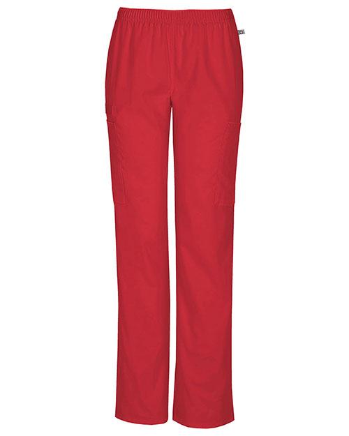 Cherokee Workwear 44200AT Women Mid Rise Straight Leg Elastic Waist Pant at GotApparel