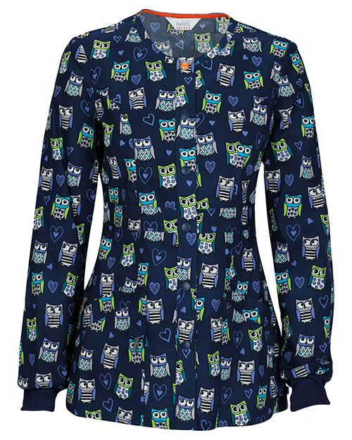 Code Happy 46302CA Women Snap Front Print Warm Up Scrub Jacket at GotApparel