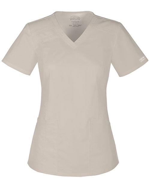 Cherokee Workwear 4710 Women V-Neck Top at GotApparel