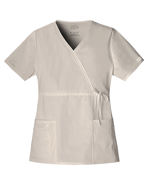 Cherokee Workwear 4748 Women Mock Wrap Top at GotApparel