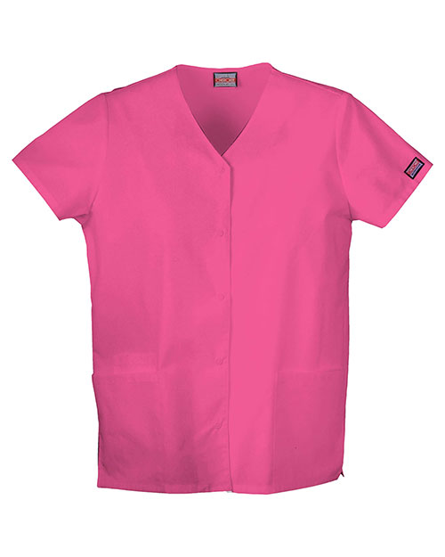 Cherokee Workwear 4770 Women Snap Front V-Neck Top at GotApparel