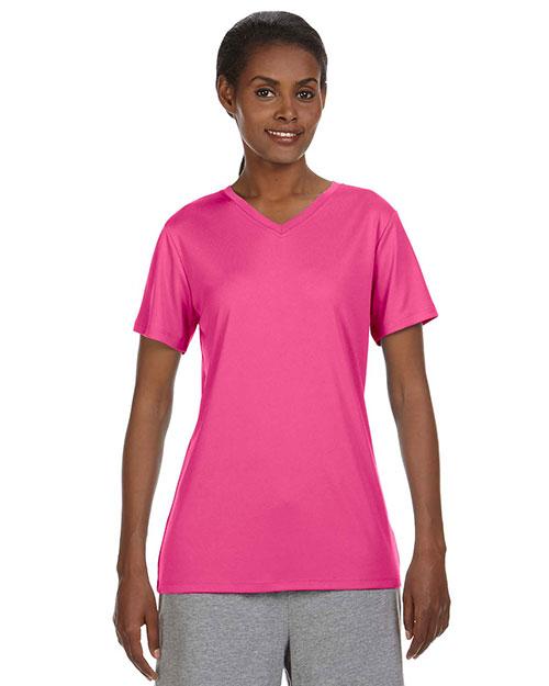 Hanes 483V Women 4 Oz. Cool Dri V-Neck T-Shirt at GotApparel