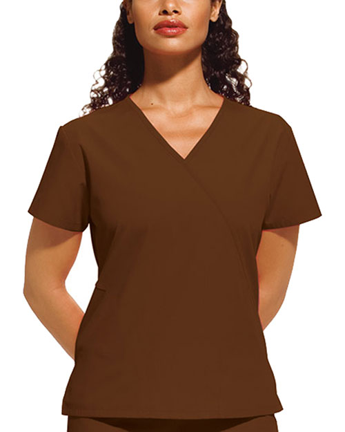 Cherokee Workwear 4880 Women Mini Mock Wrap Top at GotApparel