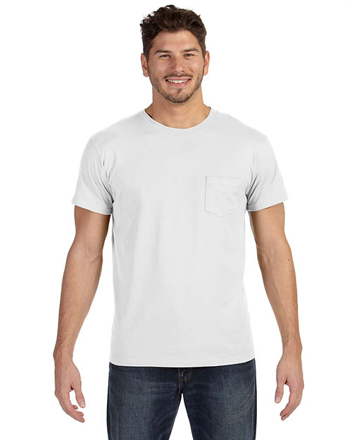 Hanes 498P Men 4.5 Oz. 100% Ringspun Cotton Nano-T T-Shirt With Pocket at GotApparel