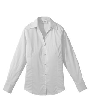Edwards 5034 Women V-Neck Soft Collar Tailored Long-Sleeve Blouse at GotApparel