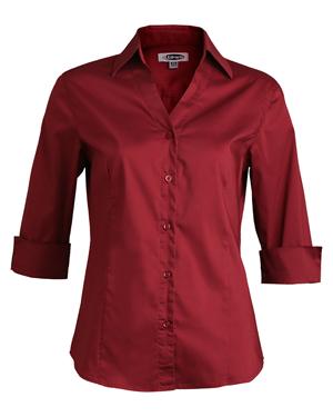 Edwards 5045 Women V-Neck 42433 Sleeve Soft Collar Blouse at GotApparel