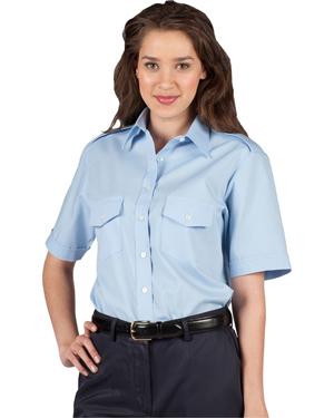 Edwards 5212 Women Traditional Collar Navigator Poplin Short-Sleeve Shirt at GotApparel