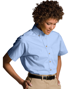 Edwards 5230 Women Button-Down Collar Poplin Short-Sleeve Shirt at GotApparel