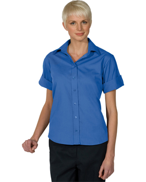 Edwards 5245 Women Matching Buttons Poplin Short-Sleeve Shirt at GotApparel