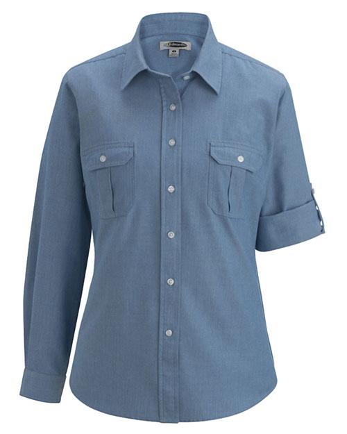 Edwards 5298 Women Chambray Roll-Up Long-Sleeve Shirt at GotApparel