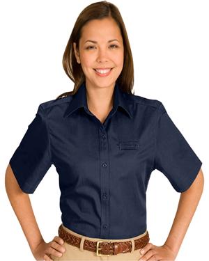 Edwards 5740 Women Cotton Plus Twill Short-Sleeve Shirt at GotApparel