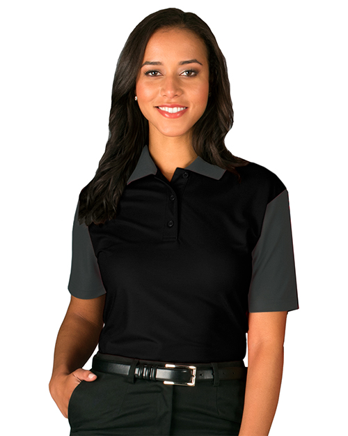 Blue Generation BG6054 Women LADIES IL-50 COLOR BLOCK POLO  -  BLACK 2 EXTRA LARGE SOLID at GotApparel