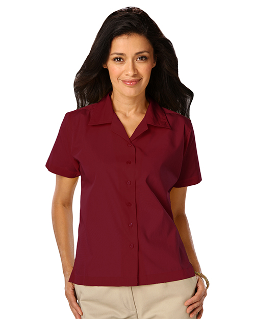 Blue Generation BG6100 Women LADIES SHORT SLEEVE SOLID CAMPSHIRT 65/35 POLY/ COTTON  -  BLACK 2 EXTRA LARGE SOLID at GotApparel