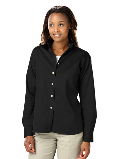 Blue Generation BG6213 Women LADIES LONG SLEEVE 100% COTTON TWILL  -  BLACK 2 EXTRA LARGE SOLID at GotApparel
