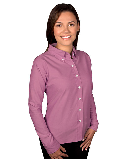 Blue Generation BG6214 Women LADIES LONG SLEEVE OXFORD  -  BURGUNDY 2 EXTRA LARGE SOLID at GotApparel