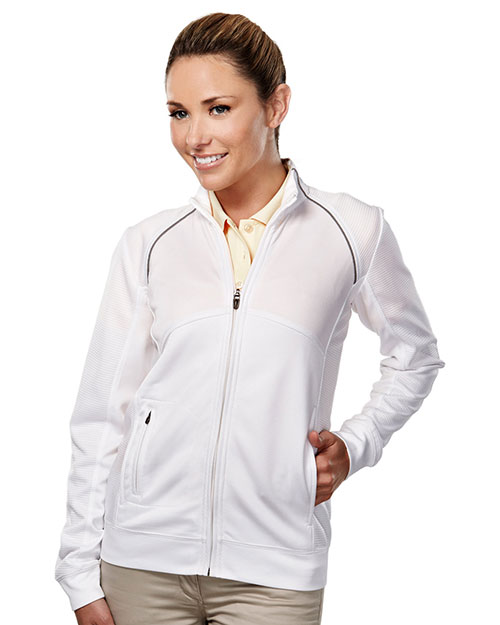 Tri-Mountain Gold 625 Women Exeter Full-Zip Long-Sleeve Knit Shirt at GotApparel