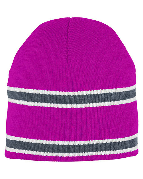 Augusta 6825 Men Striped Knit Beanie OneSize at GotApparel