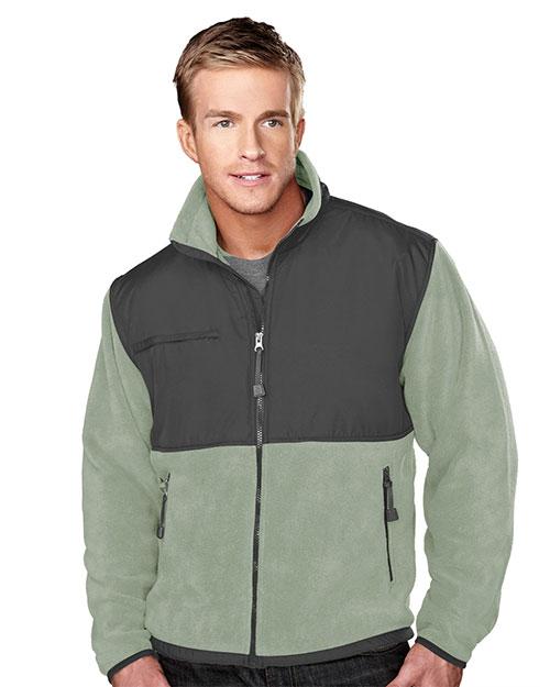 Tri-Mountain 7450 Men Frontiersman Panda Fleece Jacket With Nylon-Paneling at GotApparel