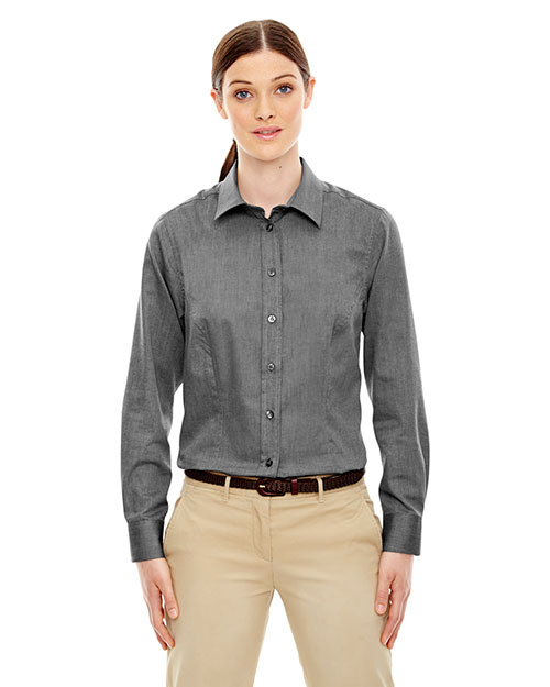 North End 77028 Women YarnDyed Wrinkle-Resistant Dobby Shirt at GotApparel