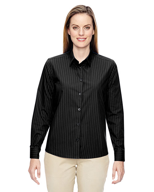 North End 77044 Women Align Wrinkle-Resistant Cotton Blend Dobby Vertical Striped Shirt at GotApparel
