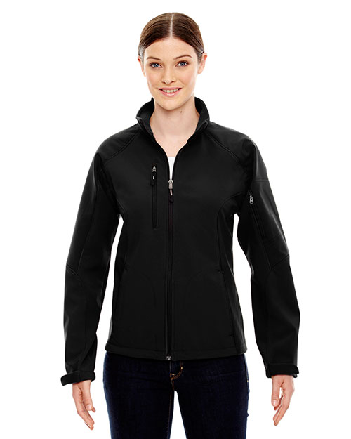 North End 78077 Women Compass Colorblock Three-Layer Fleece Bonded Soft Shell Jacket at GotApparel