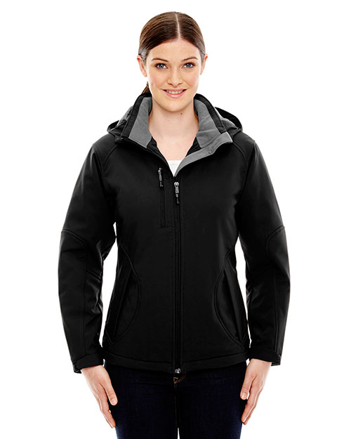 North End 78080 Women Glacier Insulated Three-Layer Fleece Bonded Soft Shell Jacket with Detachable Hood at GotApparel