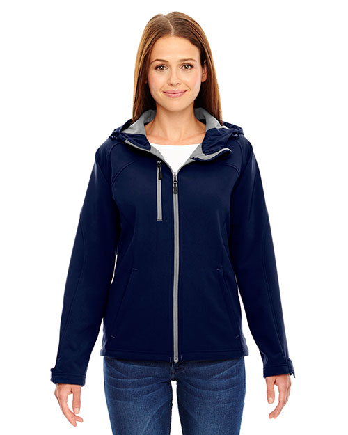 North End 78166 Women Prospect Two-Layer Fleece Bonded Soft Shell Hooded Jacket at GotApparel