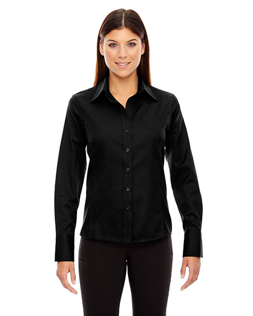 North End 78635 Women Legacy Wrinkle-Free Two-Ply 80 Cotton Jacquard Taped Shirt at GotApparel