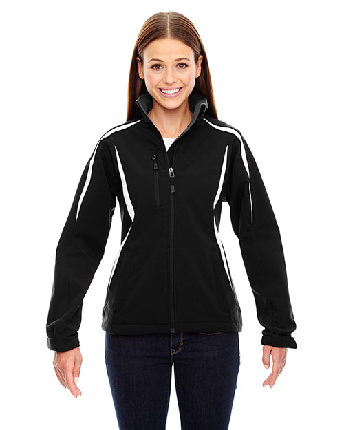North End 78650 Women Enzo Colorblocked Three-Layer Fleece Bonded Soft Shell Jacket at GotApparel